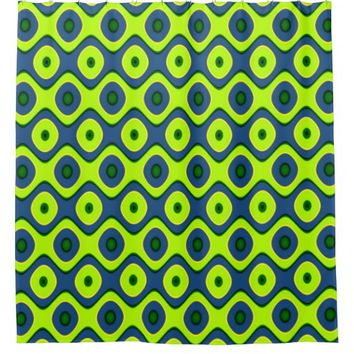 Yellow Blue and Green Retro Pattern Shower Curtain