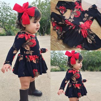 Newborn Kid Baby Girl Floral Long Sleeve Party Pageant Prom Dress Clothes US wea