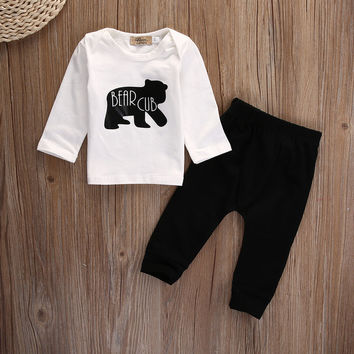 2pcs suit !!! Newborn Baby Boys Girls Kids Cotton long sleeve T shirt +Pants bear Outfit set
