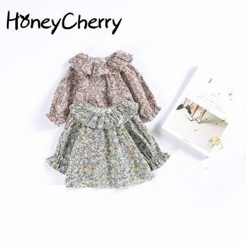 2017 Children Retro Lace Collar Sweater Coat Small Suihua Doll Baby Shirt Children Girl Top Blouse Kids Infant Blouse