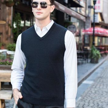 Men's Cashmere Sweater Men's Formal Business Sweaters for Office Wear Knitted Cashmere Vest
