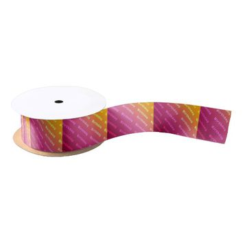 Birthday (duel color pink) satin ribbon