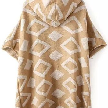 Camel Geometric Collar With Hat Cardigan