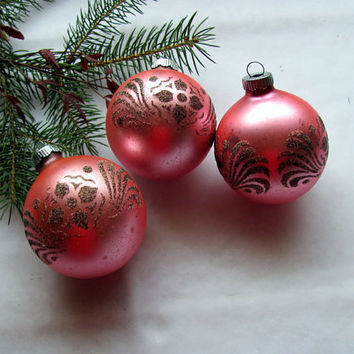 Pink Flocked Glass Christmas Ornaments / Shiny Brite Vintage Pink Glass Ornaments