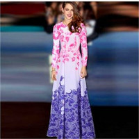 SIMPLE - Floral Printed Long Sleeve Gradient Color One Piece Dress a11959