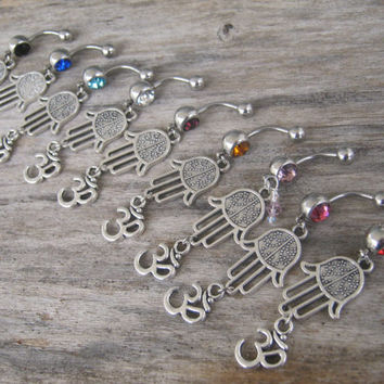 CHOOSE One Hamsa Om Belly Ring, Hamsa Belly Button Ring, Buddhist Om Belly Piercing, Hand of Fatima, Yoga Inspired, Buddhist Body Jewelry