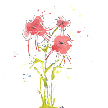 Original Watercolor Poppy Painting Red no 1