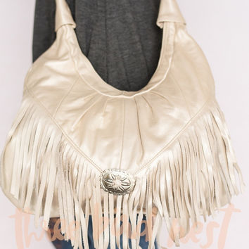 Fringed Concho Gypsy Leather Purse