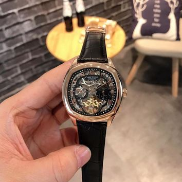 HCXX C032 Cartier Fashion Square Hollow Automatic Machinery Leather Watchand Watches Black Rose Gold