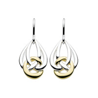 Celtic Sling Knot Drop Earrings in Sterling Silver and 14kt Gold Plate