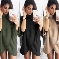 Oversize Sweatshirt Dress  Winter Dress Front Cross Irregular Autumn Dress Women Casual Loose GV406