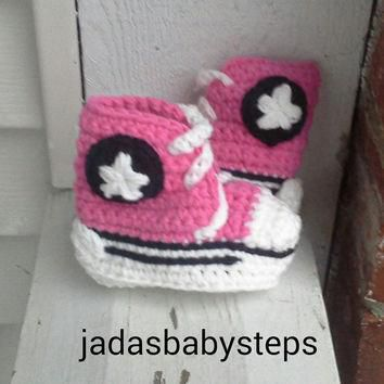 Crochet Converse Valentines Day Themed Infant/Baby Booties - Pink/Black