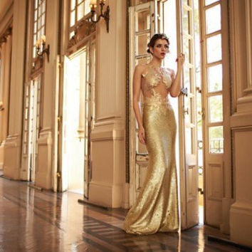 Sparking Gold Sequined Mermaid Prom Dresses 2016 Sexy See Through Long Evening Dresses Vestido De Festa