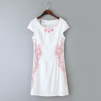 Beading Flower Embroidered Cap-Sleeve Zippered Dress