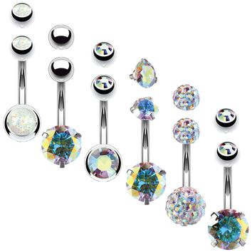 BodyJ4You 6PCS Belly Button Rings 6 Replacement Balls 14G Stainless Steel Aurora CZ Navel Jewelry