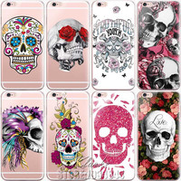 Floral Sugar Skull Case Cover For iphone 6 6S Silicone Transparent Cell Phone Cases