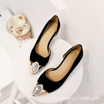 Rhinestone Gemstone Leather Pointed Toe With Heel Shoes [4919950788]