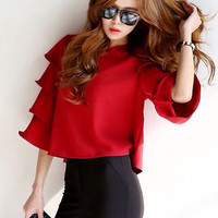 Tiered Bell Sleeve Chiffon Cropped Top