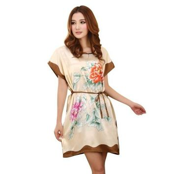 VONG2W Women's Chinese Style Short Sleeve Silk Dress Loose Nightgown Bathrobe