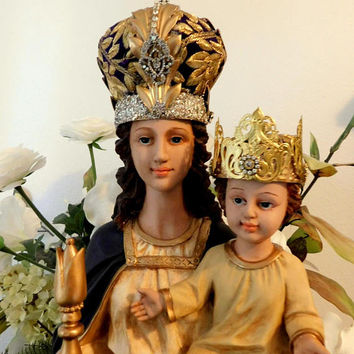 Distressed Large Virgin Mary Statue Holding Baby Jesus w' Handmade Ornate Gold Crowns
