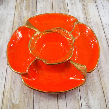 Mid Century Modern Atomic Orange Chip and Dip Set Orange with Gold Gilt, California Pottery