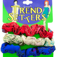Asian Fabric Hair Scrunchies Set Case Pack 24
