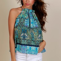 Full of Life Print Blouse Blue