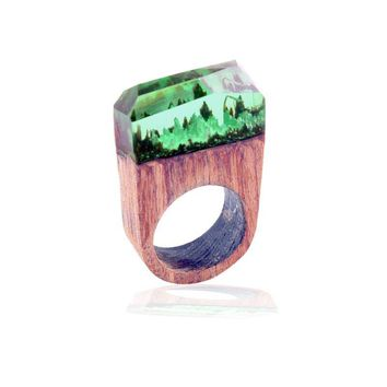 High Quality Clear Deep Rectangle Magic Forest Resin Wood Rings For Women Men Finger Jewelry Gift