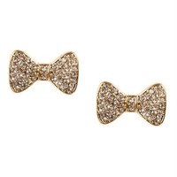 Gold Rhinestone Bow Earrings