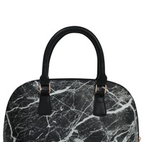 Black Marble Bowler Insulated Cooler Lunch Handbag