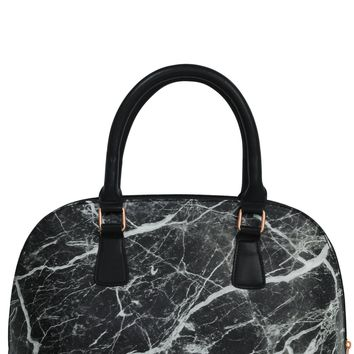 Black Marble Bowler Insulated Lunch Handbag