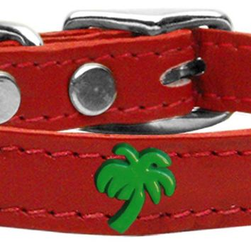 Green Palm Tree Widget Genuine Leather Dog Collar Red 20