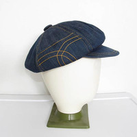 1970s Denim Newsboy Cap / Dark Blue w/ Stash Pocket / Vintage 70s Unisex Festival Hat