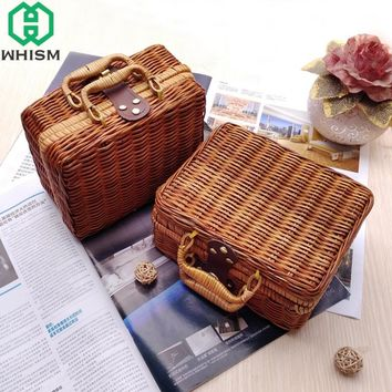 WHISM Handmade Woven Storage Basket Bamboo Rattan Travel Suitcase Wicker Basket Cosmetic Organizer Storage Box rieten mand