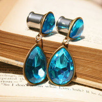 Vintage rhinestone Plugs Vintage blue and brass rhinestone earrings OOAK One of a Kind 7/16""