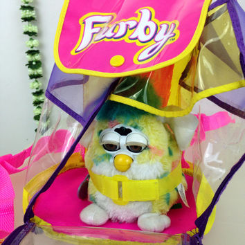 90s Furby Clear Vinyl Mini Backpack Furby Carry Along / Club Kid / Rave /