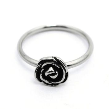 Size 4~9 Cute Wedding Rose Ladies Ring 316L Stainless Steel Jewelry Biker Band Ring