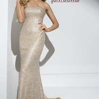 Tony Bowls Gold Strapless Gown