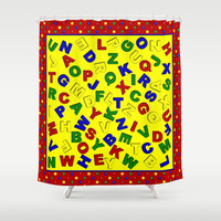 Primary Polka Dots RED Alphabet  Shower Curtain by MargaretNewcombArt