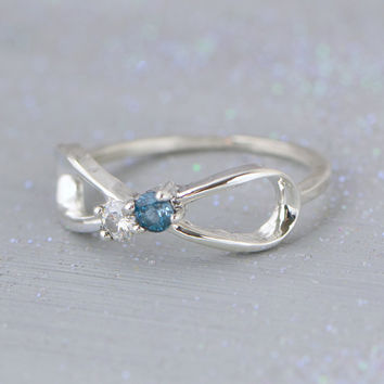 BLACK FRIDAY SALE London Blue Topaz Infinity Ring - Dual Birthstone Ring - Gemstone Jewelry - Blue Gemstone -December Birthstone Ring - Topa