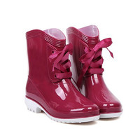 Red Rain Boots With Lace-Up Design