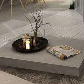 Vega Concrete Coffee Table on Wheels