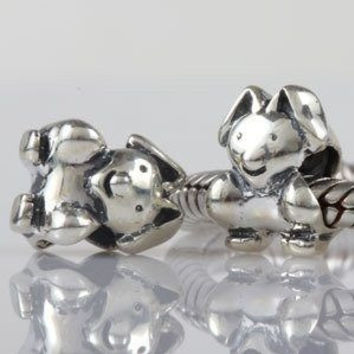 European charm sterling silver bead rabbit