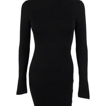 Bar III Women's Long Sleeves Mock Turtleneck Dress
