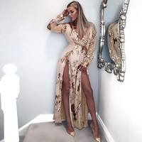 Fashion Deep V-Neck Split Perspective Gauze Long Sleeve Sequin Maxi Dress
