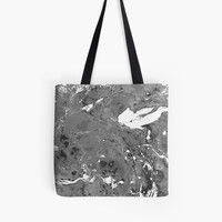 'Grunge Black and white marble texture.' Tote Bag by kakapostudio