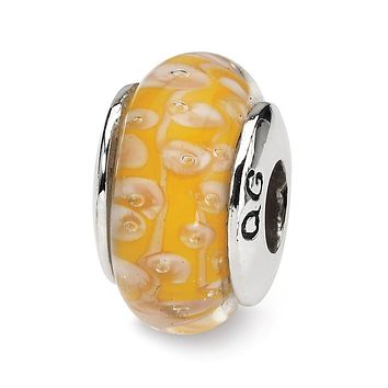 Sterling Silver ReflectionsYellow Hand-blown Glass Bead