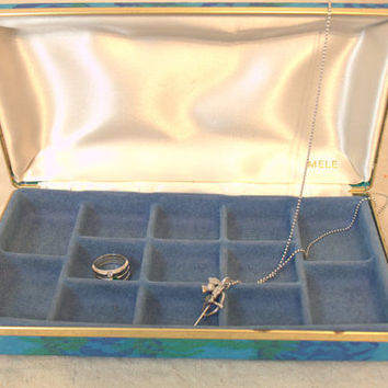 1960s Mele Travel Jewelry Box, Small Jewellry Organizer, Blue and Green Travel Case