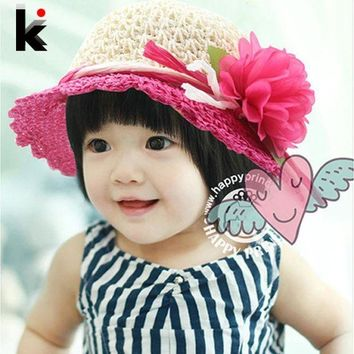 LMF78W 2017 Free Shipping fashion Children hats for girls Beach Hat Flower Cap Kids Straw hat Childrens Summer Sun caps 5 colors