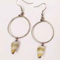 Simple Hawaiian Yellow/Green Cone Shells Hoop Earrings